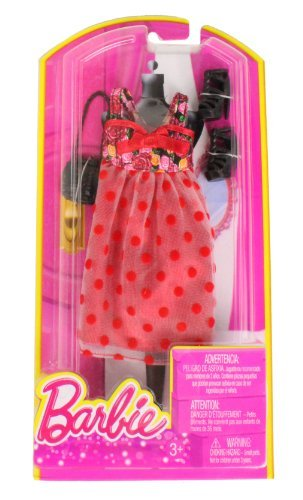 Barbie Dress Up Rose and Polka Dot Dress with Fashion Accessories - 1