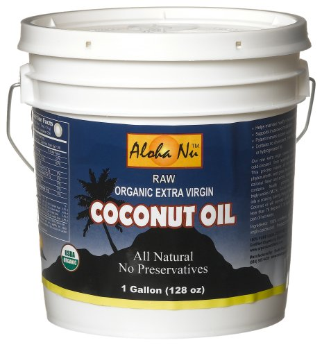 Aloha Nu Certified Organic Extra Virgin Coconut Oil, 128-Ounce Tub