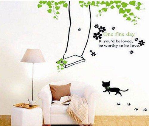 ウォールステッカー 猫 ブランコ ウォールペーパー 壁紙シール