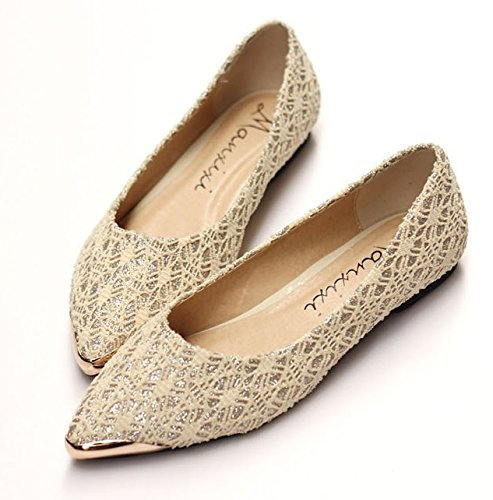 YU&YUWomen glitter sequined spider web lace shallow mouth flat shoes ( more colors available) , Apricot , US8 / EU39 / UK6 / CN39 Sequined Espadrille