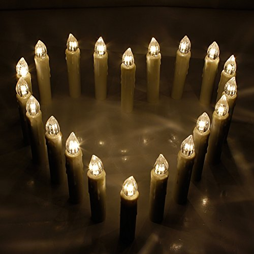 20er Batteriebetriebene Flammenlose Kerzen Kabellose Lichterkette LED-Weihnachtskerzen (Warmweiß) Kerzenlichter mit Fernbedienung, 20er AAA Batterien im Lieferumfang enthalten für Außen,Weihnachtsbaum,Weihnachtsdeko,Party,Hochzeit, Geburtstags