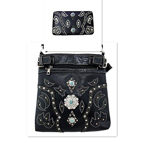 2015 Western Black Trimmed Leather Rhinestone Concho Stud Messenger Handbag w/ Adjustable Strap