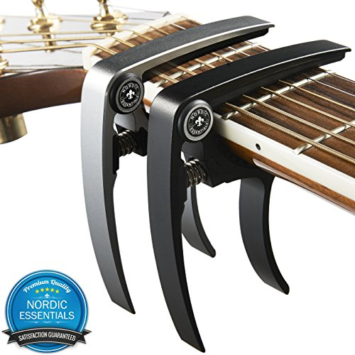 Guitar Capo (2 Pack) for Guitars, Ukulele, Banjo, Mandolin, Bass - Made of Ultra Lightweight Aluminum Metal (1.2 oz!) for 6 & 12 String Instruments - Premium Accessories by Nordic Essentials™ - (Black + Silver) - Lifetime Warranty