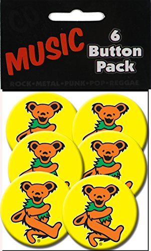 "C&D Visionary Grateful Dead Orange Bear 1.25"" Button (6-Piece)"