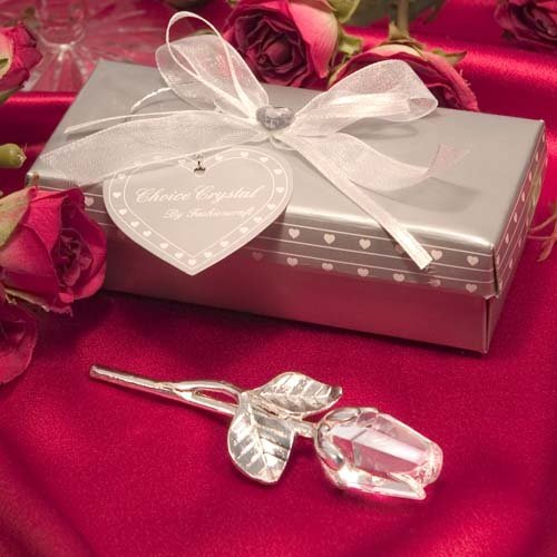 Crystal Long Stem Rose Wedding Favors, 18