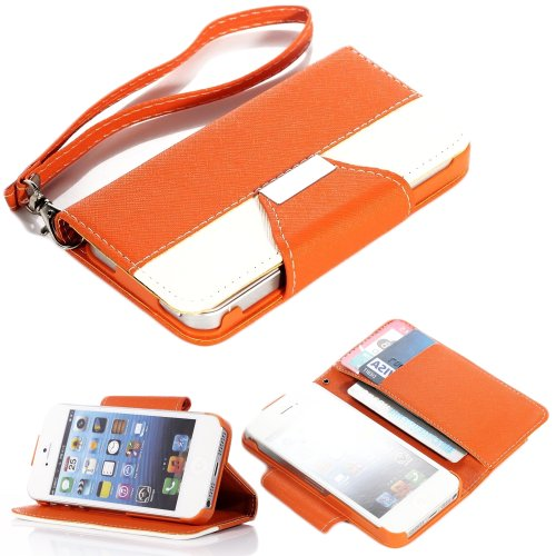 Mylife (Tm) Bright Orange And White - Textured Koskin Faux Leather (Lanyard Strap + Card And Id Holder + Magnetic Detachable Closing) Slim Wallet For Iphone 4/4S (4G) 4Th Generation Touch Phone (External Rugged Synthetic Leather With Magnetic Clip + Inter