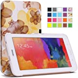 Moko Samsung Galaxy Tab 3 Lite Case - Ultra Slim Lightweight Smart-shell Stand Case ONLY for Galaxy Tab 3 Lite T110 / T111 7.0 Inch Android Tablet, Floral YELLOW (WILL NOT Fit Tab 4 7.0 / Tab 3 7.0)