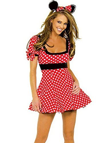 Surenow Women's Sexy Cartoon Mickey Mouse Sexy Lingerie Set Cosplay Costume