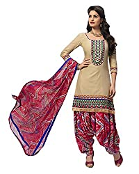 Ala4u Beige printed Patiala style Unstiched Cotton Dress Material