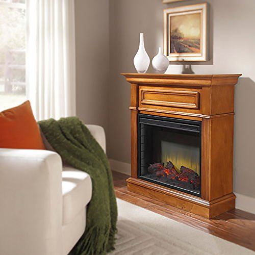 Electric Fireplace. This Electric Fireplaces Transitional Mantel Cabinet Design With Wrap Around Molding & Header Picture Frame Molding Detail Give It A Realistic Flame & Glowing Ember Bed Powered With Energy-Efficient Led Technology.