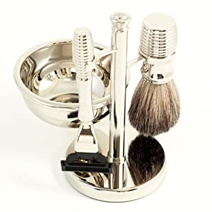Four Piece Shaving Shave Set with 'Mach 3' Razor, Badger Brush, Soap Dish On a Stand