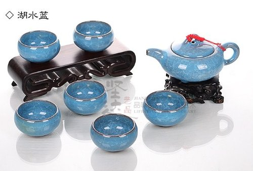 Ufingo-Ice Crack Glaze Ceramic Kung Fu Tea Set Tea Service-Light Blue Teapot And Light Blue Tea Cups