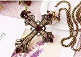 KH-809004 Lily Jewellery Cross Swarovski Elements Crystal Pendant Long Necklace