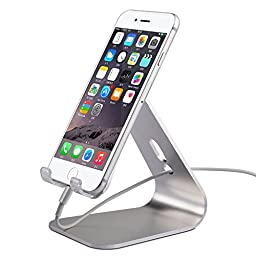 iphone Desktop Stand,KINGWorld Portable Universal Solid Aluminum Micro-Suction Holder Cradle for E-readers and Smartphones,Compatible with iphone/ipad/Samsung Galaxy and Other Cellphones-Sliver