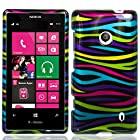 HJ POWER[TM] Nokia Lumia 521 Windows Phone 8 Hard Snap-on Case CoverEGPI-Rainbow Zebra