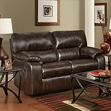 Roundhill Furniture Canyon Polished Microfiber Dual Reclining Loveseat, Brown