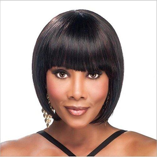 Meylee Parrucche Europeo breve Bobo rettilineo parrucca di capelli per le donne nere con frangetta ordinate