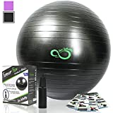 Exercise Ball -Professional Grade Anti Burst Tested with Hand Pump- Supports 2200lbs- Includes Workout Guide Access- 55cm/65cm/75cm/85cm Balance Balls