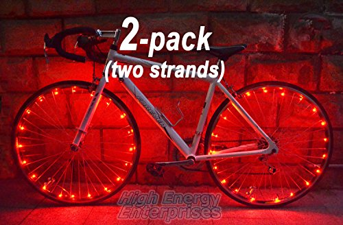 "LED ""BikeStrings"" (Red Pair) - Flexible bright MicroLED bicycle light strings - Dazzling display - Light up your bike! Cast light all around you. Be safe. Be visible. Be seen."