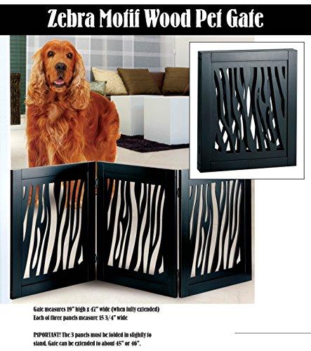 Die-Cut 3 Panel Adjustable Wood Zebra Motif Pet Gate front-17905