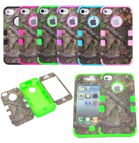 JUSTINGApple iPhone 5C 3-piece Triple Layer Hybrid Real Tree Camo Hybrid Hard Case Cover Green