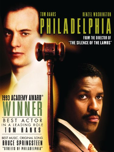 Philadelphia, Tom Hanks, Denzel Washington, When a man with AIDS is fired by a conservative law firm because of his condition, he hires a homophobic small time lawyer as the only willing advocate for a wrongful dismissal suit.