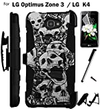 For LG Optimus Zone 3 Phone Case (Verizon) Armor Hybrid Rugged Silicone Cover Kick Stand LuxGuard Holster+LCD Screen Protector+Stylus (Skull Rose/Black)