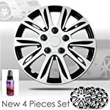 New Design 15 Inch Hubcaps Silver with Black Accents Rim Wheel Covers Hub Cap Full Lug Skin Set 547