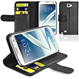 CE Compass Swivel-N-Go Flip Leather Wallet Case Cover Stand For Samsung Galaxy Note 2 II N7100 (Black)