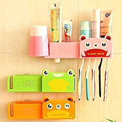 Shopo's Cute Animal Wall Mounted Toothbrush Toothpaste Storage Holder Rack Stand