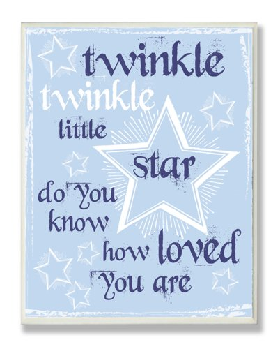 The Kids Room by Stupell Twinkle Twinkle Nursery Rhyme on Blue Rectangle Wall Plaque
