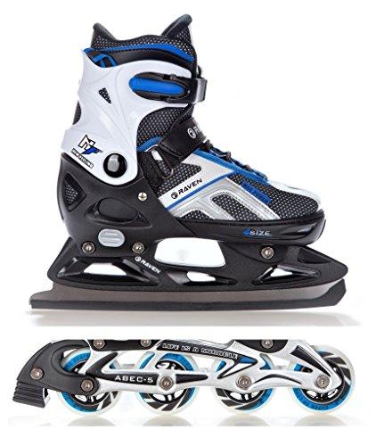 2in1-Schlittschuhe-Inline-Skates-Inliner-Raven-Pulse-BlackBlue-verstellbar