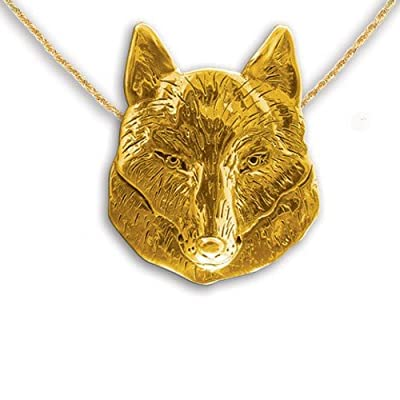 14k Gold Wolf Pin Pendant by The Magic Zoo