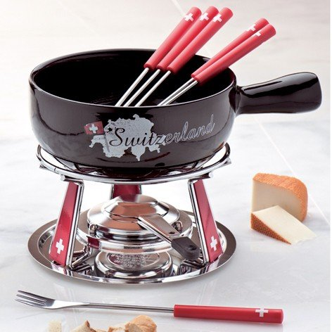 NOUVEL K&#228;se-Fondue-Set SWITZERLAND K&#228;sefondue
