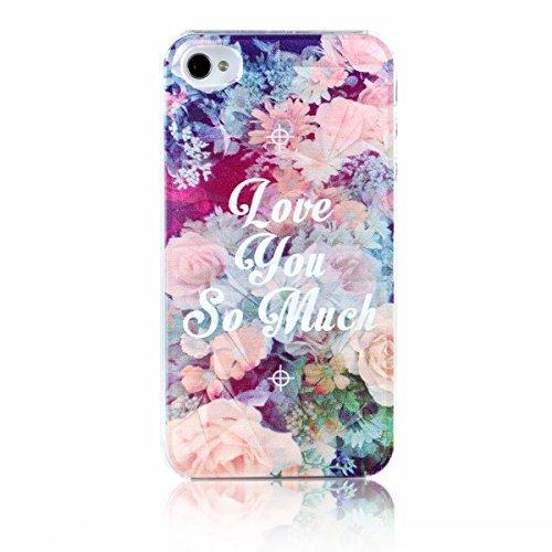 """JewelryWe Accessoires Coque de Protection Téléphone """"Love you so much"""" Fleur Multicolore Tridimensionnel Plastique Etui Housse Arrière pour Iphone 4/4s"""
