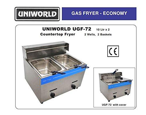 Uniworld Stainless Steel Liquid Propane Gas Fryer (Counter Top),Temperature Range: 0-392 ºf , 2X10 Liter Fat Capacity, Btu 25000, Ce Approval Model Ugf-72 front-40025