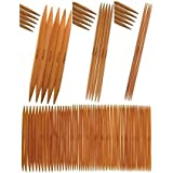 """8"""" Inch Double Point Bamboo Knitting Needles by StitchBerry, 15 Set Collection (US#0 2mm - US#15 10mm)"""