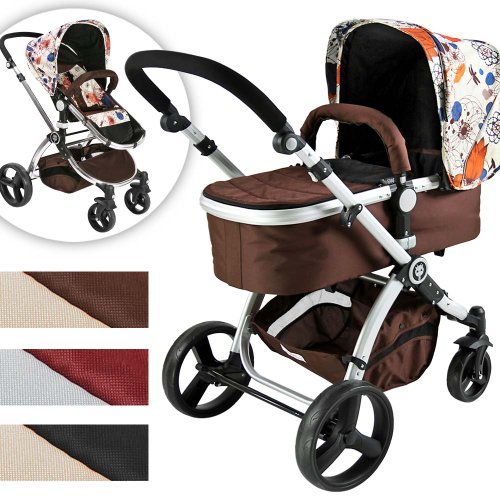 Infantastic Baby Child Pushchair Pram / Stroller 2in1 with Carry Cot (brown-flower pattern)