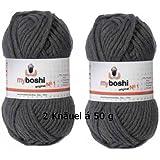 2 x Wolle myboshi Fb 195 anthrazit, 50g, ca. 55 m/Knäuel