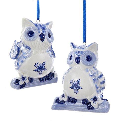 Kurt Adler Delft Blue Owls Old World Christmas Ornaments