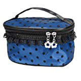Blue Black Portable Zipper Closure Meshy Lace Toiletry Makeup Cosmetic Bag