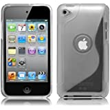 iPod Touch4 TPU Sデザインソフトケースカバー 液晶保護フィルム&クリーナー1セット付属 クリアー