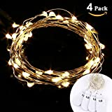 LE® 4 Pack LED Warm White Starry String Lights - Micro String - 3.3ft 1m 20 LEDs - Battery Operated - Decorative Copper Wire Lights for Valentine's Day - Christmas Party Wedding Holiday - Fairy Lights