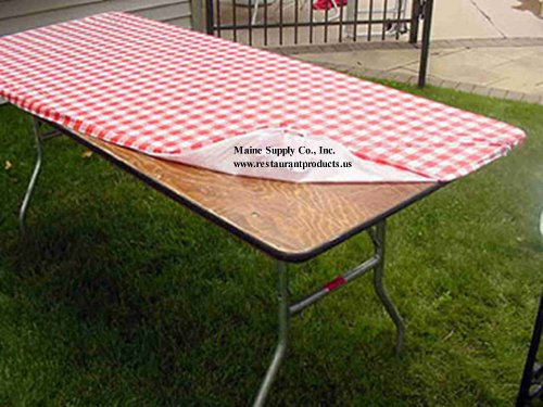 "30"" x 96"" Red & White Gingham Check Kwik Covers-6 Pack"