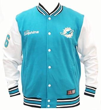 Fleece Letterman Miami Dolphins College Jacke Jacket: Clothing