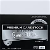 Darice GX-2200-18 20-Piece Card Stock Paper, 12 by 12-Inch, White
