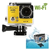Blusmart? Wifi 1080P Action Camera Sports Camera Waterproof HD Action DVR Wide Angle DV Diving Action Camera(WiFi DV-Yellow)