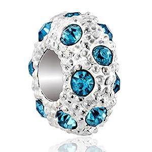 Pugster White B March Swarovski Elements Crystal Birthstone European Charm Bead