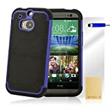 32nd® Shock proof dual defender case cover for HTC One M9 + screen protector, cleaning cloth and touch stylus - Deep Blue