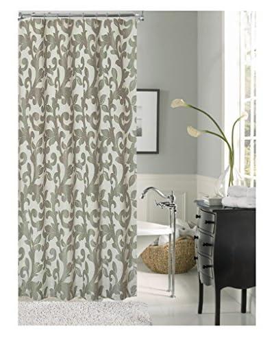 Cay Trading Dainty Home Dahlia Fabric Shower Curtain, Silver